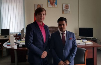 Consul General of India in Vladivostok Mr. Shubham Kumar met with Governing Council Chairman of Model United Nations of the Russian Far East Mr. Vitaly Savenkov and discussed consulate's participation in the Far Eastern Model United Nations 2018. Discussions were held on forging a partnership of Model United Nations of the Russian Far East with Model United Nations India.