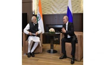 Prime Minister Narendra Modi felicitates President Vladimir Putin on his inauguration as President of Russian Federation