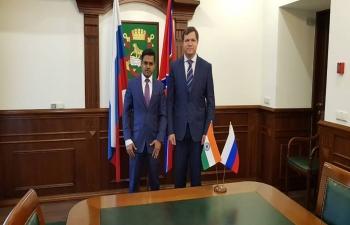 Consul General of India Mr. Shubham Kumar held the official meeting with the Mayor of Vladivostok City Mr. Vitaly Verkeyenko.