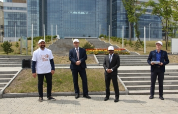 Tree plantation event organized by Consulate General of India, Vladivostok  in cooperation with Far East Federal University(FEFU)  to mark 150th birth anniversary of Mahatma Gandhi.