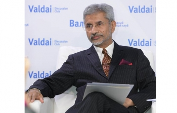"EAM Dr S Jaishankar spoke at Valdai Club today on the topic ""India's perspective on the Indo-Pacific"", during his visit to Moscow."